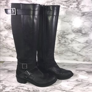 Black Leather Ridding Boots Size 7M